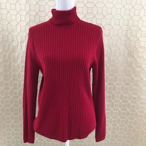 TALBOTS RIBBED TURTLENECK SWEATER RED SIZE XL